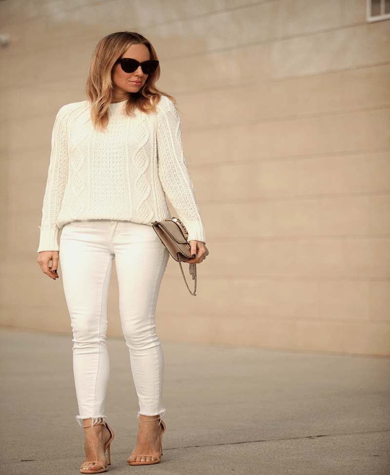 women white pants in winter