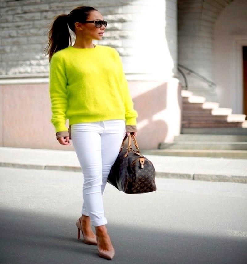 top women white pants in winter