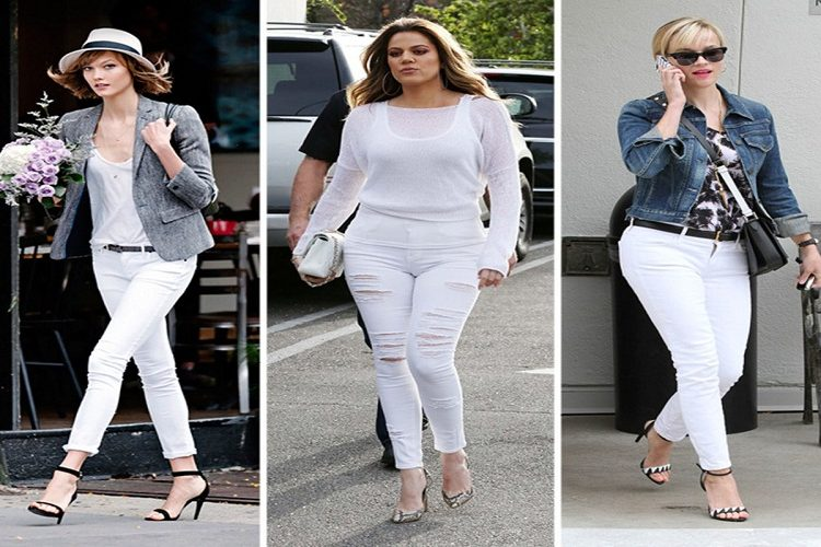 wearing white pants